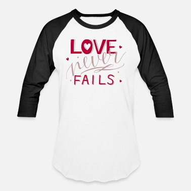 Cross Love Never Fails Christian Religious Blessings - Unisex Baseball T-Shirt