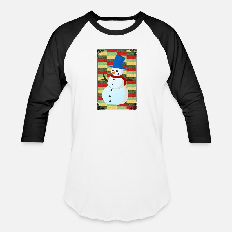 Merry Xmas T-Shirts - SNOWMAN ILLUSTRATION! GIFT IDEA FOR THE ADVENT - Unisex Baseball T-Shirt white/black