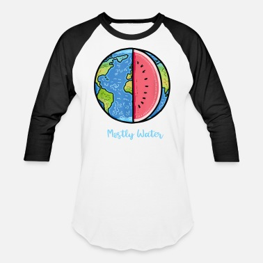 Water Mostly Water Earth Day Watermelon Funny - Unisex Baseball T-Shirt