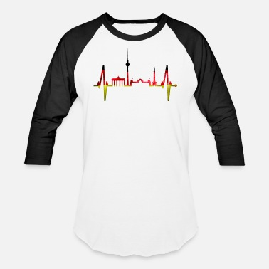 Spree Berlin Heartbeat Skyline German Flag Fan Lover - Unisex Baseball T-Shirt