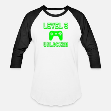 Unlocked Level 3 Unlocked Gamer Third 3rd Birthday Gift - Unisex Baseball T-Shirt