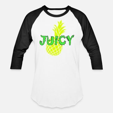 Green Text juicy, bright yellow pineapple and neon green text - Unisex Baseball T-Shirt