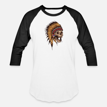 Tattooed native american skull - Baseball T-Shirt