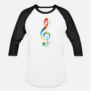 Vibrant Colors Treble Clef Paint Splatter Art Colorful & Vibrant - Baseball T-Shirt