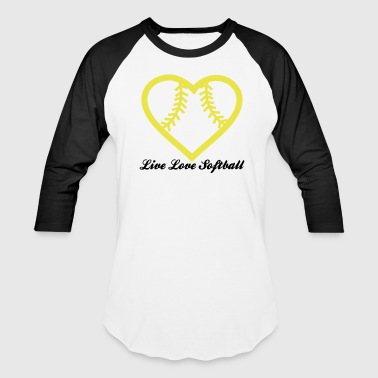 Live Love Softball with Softball heart Design - Baseball T-Shirt