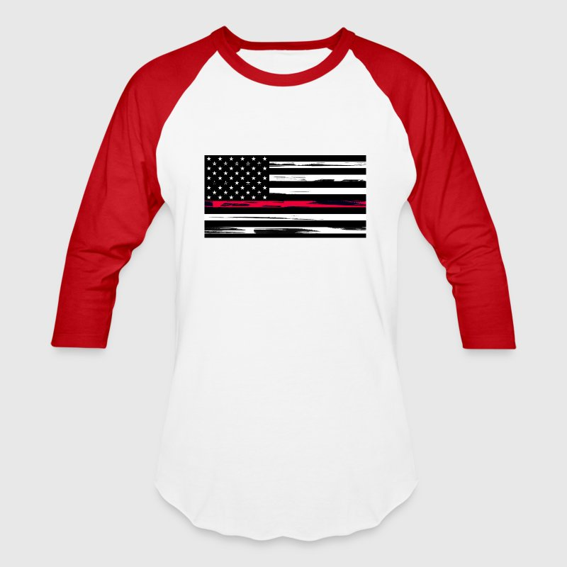 Firefighter US Flag with Red Stripe - Men's Premiu - Baseball T-Shirt