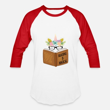 Reading Reading is magical Cute Unicorn Face Book Lovers - Baseball T-Shirt