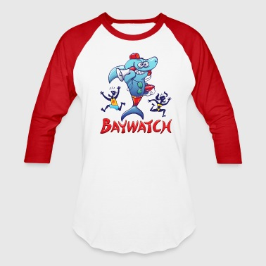 Baywatch Shark - Baseball T-Shirt