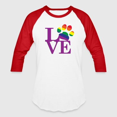 Love-Gay-Pawprint-Purple- - Baseball T-Shirt