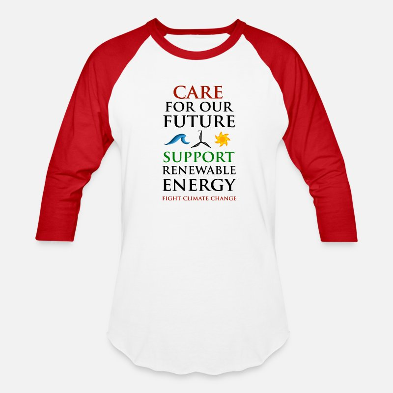Eco T-Shirts - Care For Our Future - Unisex Baseball T-Shirt white/red