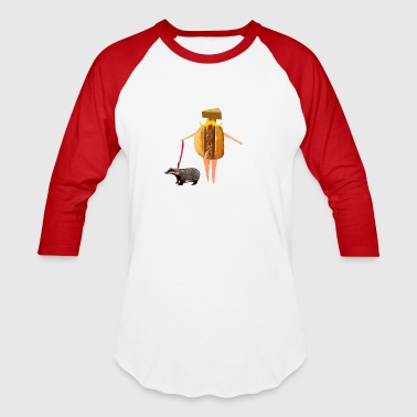 Cheesehead Badger Wisconsin fan Brat, Cheese and Badger Pet - Baseball T-Shirt