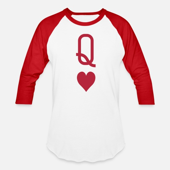 Queen T-Shirts - queen_of_hearts - Unisex Baseball T-Shirt white/red