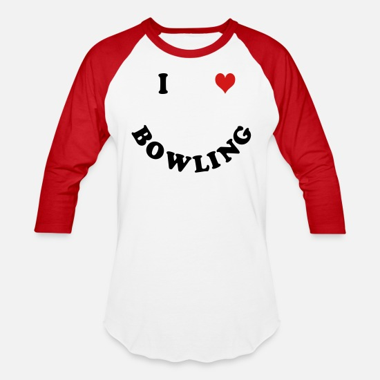Bowling Club T-Shirts - I love bowling - Unisex Baseball T-Shirt white/red