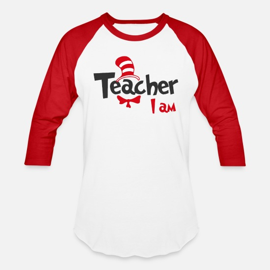 Teacher T-Shirts - Teacher I am Dr Seuss Shirt - Unisex Baseball T-Shirt white/red