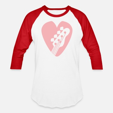 Guitar Shape Bass Guitar Head In Heart-Shaped Bassists Pick pk - Baseball T-Shirt