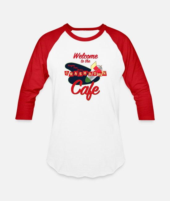 New T-Shirts - Roswell - Crashdown Cafe - Unisex Baseball T-Shirt white/red