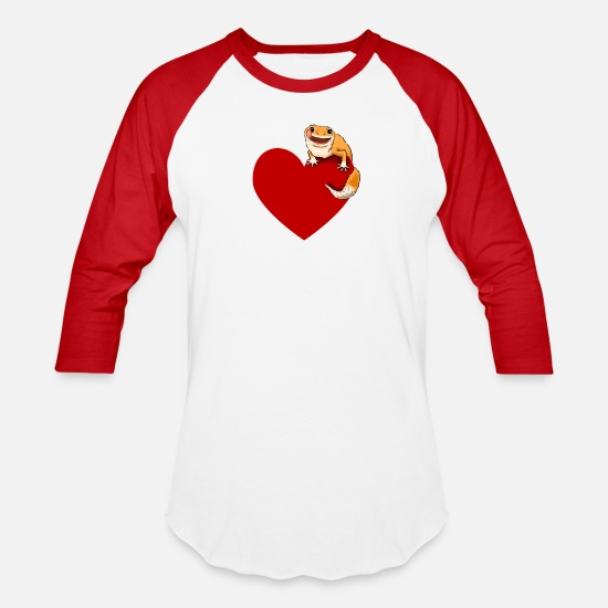 Gecko T-Shirts - Leopard Gecko Lover, Leopard Gecko and Heart, Cute - Unisex Baseball T-Shirt white/red