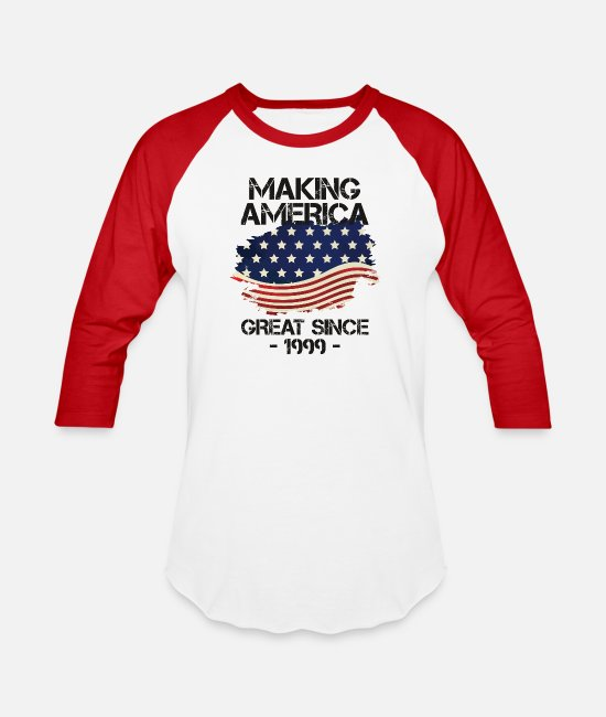Lets Keep America Great Trump T-Shirts - Making America Great Since 1999 USA Proud - Unisex Baseball T-Shirt white/red