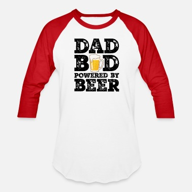 Dad Bod Powered By Beer Funny Food Lovers Father - Unisex Baseball T-Shirt