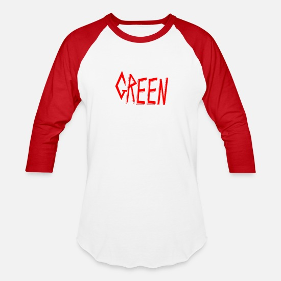 Green T-Shirts - Cool Tricky green - Unisex Baseball T-Shirt white/red