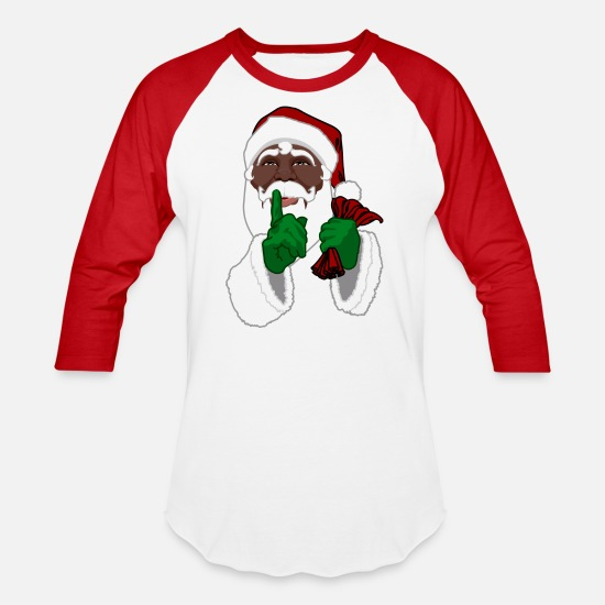 Christmas T-Shirts - African American Santa Black Santa Clause - Unisex Baseball T-Shirt white/red