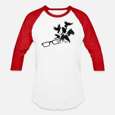 Glasses with Raven - Unisex Baseball T-Shirt