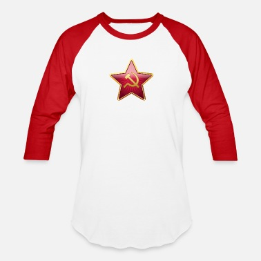 Red star with a sickle and a hammer - Unisex Baseball T-Shirt