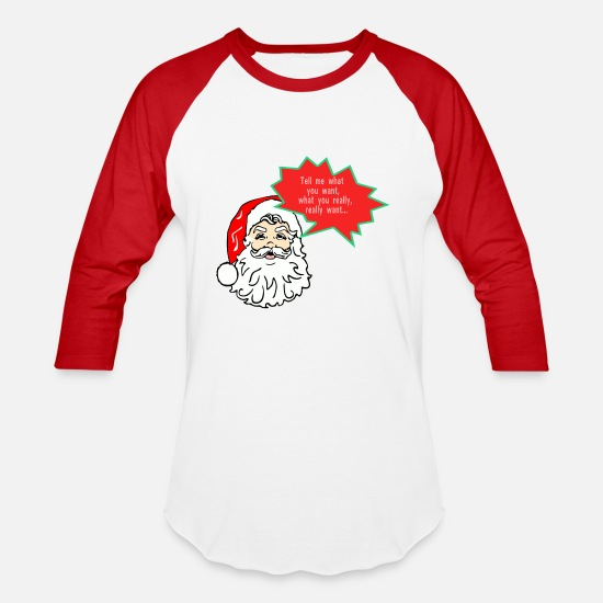 Christmas T-Shirts - Tell me what you want... - Unisex Baseball T-Shirt white/red