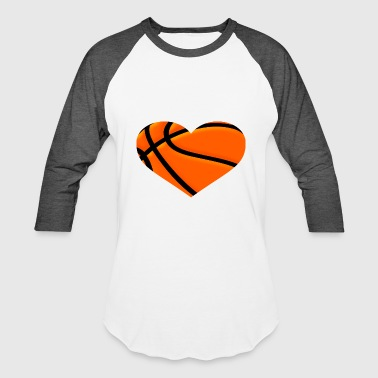 Basketball Court Basketball HEART - Baseball T-Shirt