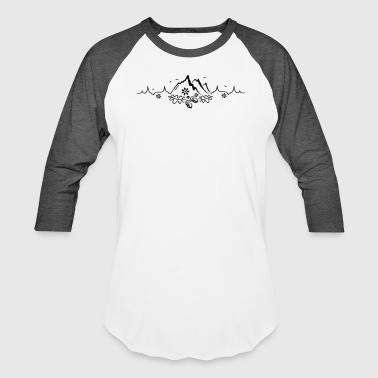 Love Mountains Heartbeat Heartbeat, love for hiking and mountaineering - Baseball T-Shirt