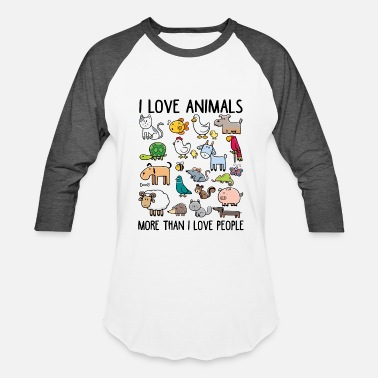 People I love animals more than I love people - Baseball T-Shirt