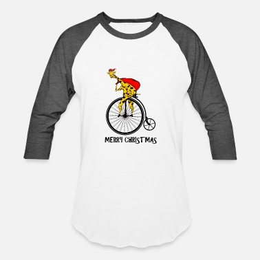 Peen Merry Christmas Giraffe Riding a Bike - Baseball T-Shirt