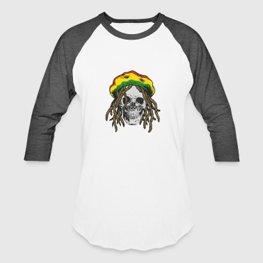 Rastafarian Flag Rasta Man Rastafarian Hat Flag Colors Skull Dreadlocks - Baseball T-Shirt