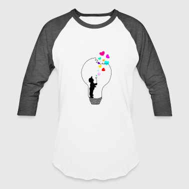 Light Bulb Heart Colorful Boy Blowing Drawing - Baseball T-Shirt