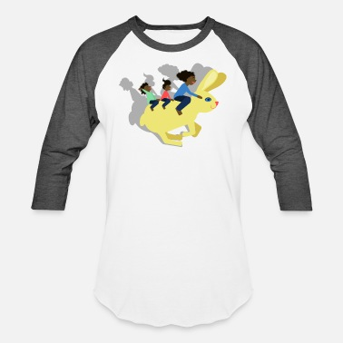 Happy Family Riding a Hare: Black woman and kids - Unisex Baseball T-Shirt