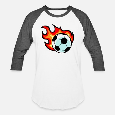 Flaming Soccer Ball - Unisex Baseball T-Shirt