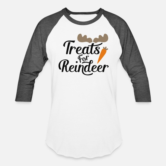 Treats T-Shirts - Treats For Reindeer - Unisex Baseball T-Shirt white/charcoal