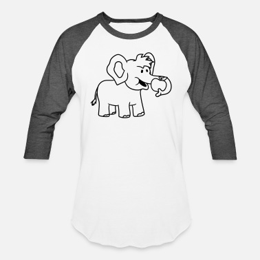 Healthy Eating Eating hungry apple fruit healthy happy elephant c - Unisex Baseball T-Shirt