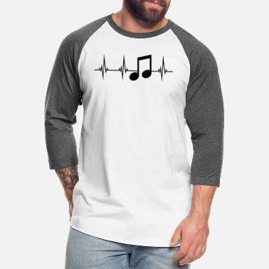 Musical music note heart beat pulse frequency sign party m - Unisex Baseball T-Shirt