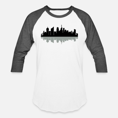 World Metropolis city mirrored reflection shadow metropolis silhoue - Unisex Baseball T-Shirt
