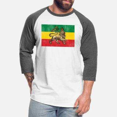Reggae Lion of Judah Flag Rastafarian Reggae - Unisex Baseball T-Shirt