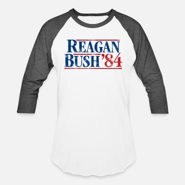 Template Presidential Election Distressed Reagan - Bush '84 - Unisex Baseball T-Shirt