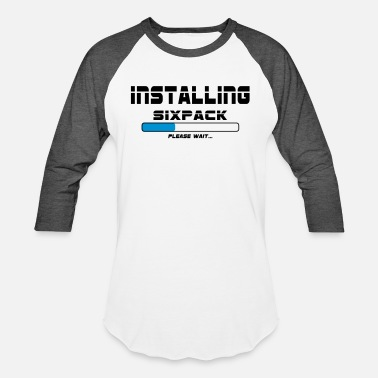 Work Out installing sixpack - Unisex Baseball T-Shirt