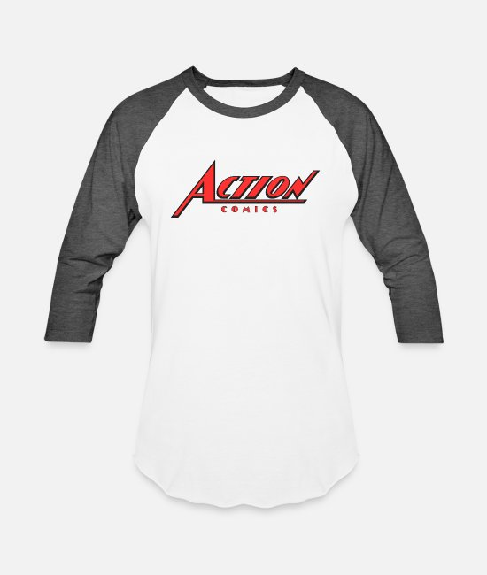 Action T-Shirts - action comics ipl - Unisex Baseball T-Shirt white/charcoal