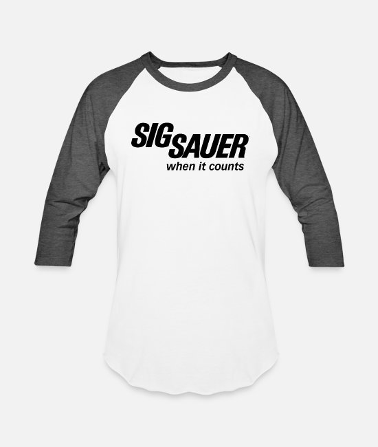 Sig. T-Shirts - sig sauer when it counts - Unisex Baseball T-Shirt white/charcoal