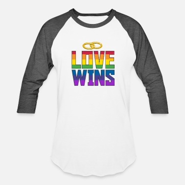 Equality LGBT Rainbow Pride Love Wins Wedding Ring - Unisex Baseball T-Shirt
