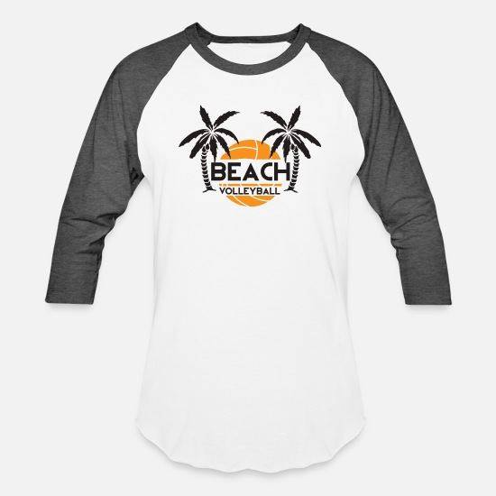 Beach T-Shirts - Beach Volleyball - Unisex Baseball T-Shirt white/charcoal