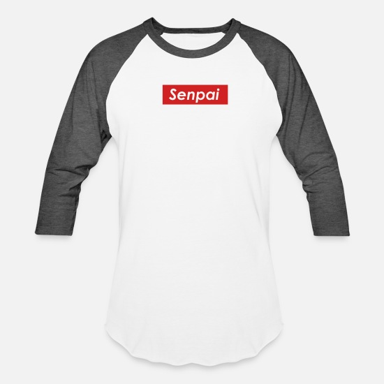f48fd2a0 Senpai T-Shirts - Senpai Box Logo - Unisex Baseball T-Shirt white/