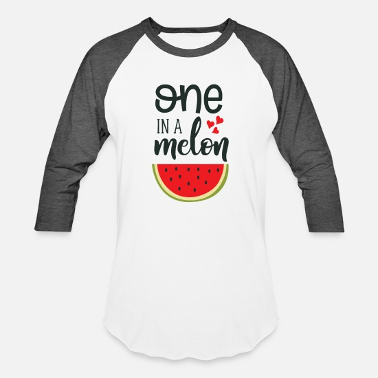 Gift Idea T-Shirts - One in a melon with a heart design - Unisex Baseball T-Shirt white/charcoal