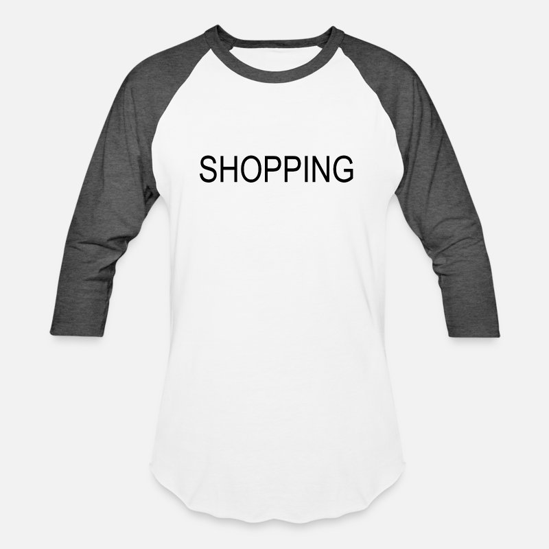 Shopping Frenzy T-Shirts - Shopping - Unisex Baseball T-Shirt white/charcoal